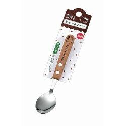 大賀屋 Hello Kitty 不鏽鋼 湯匙 天然 木把手 短 餐具 三麗鷗 KT 凱蒂貓 日貨 正版 授權 J00013146