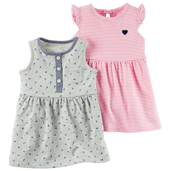 Carter #x27 s 美國 短袖 連身裙 洋裝 套裝 條紋 小碎花 粉紅色 灰色 兩