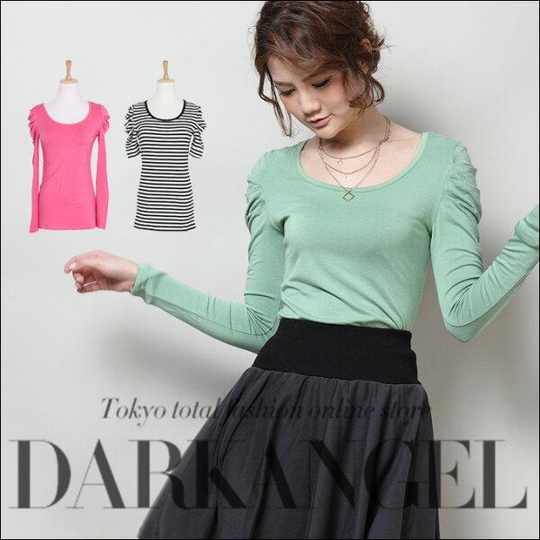 日本必買女裝DarkAngel簡約裁剪素色上衣T恤-免運代購