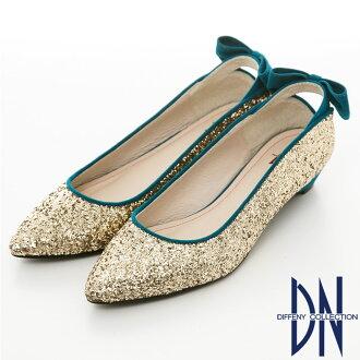 DN 魅力滿分-金蔥閃料時尚蝴蝶低跟鞋-金