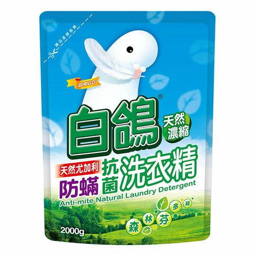 BAIGO 白鴿 防蟎抗菌 天然尤加利濃縮洗衣精 補充包 2000g 【售完為止】