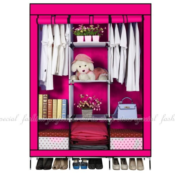 三門開超大容量雙人布衣櫃 無紡布簡易衣服整理衣櫃衣櫥【DZ101】◎123便利屋◎