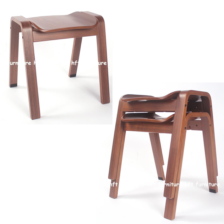 HFT Furniture【免運現貨】HFT-0029 復古北歐 曲木實木 可堆疊方凳 餐椅