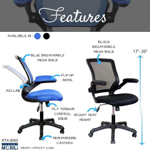 Shopango Techni Mobili Mesh Task Office Chair With Flip Up Arms