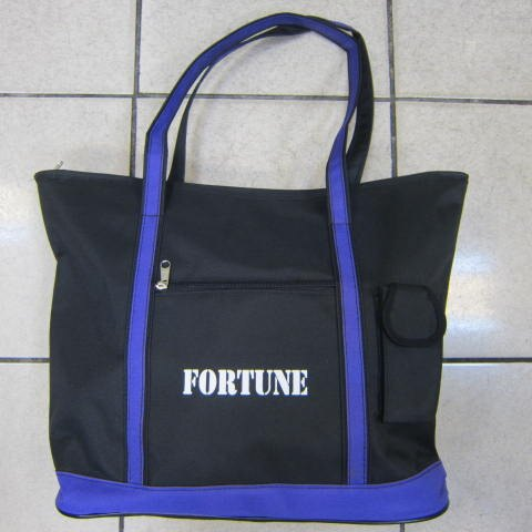 ~雪黛屋~FORTUNE托特包購物袋簡單提袋才藝袋手提袋 防水尼龍布材質台可放A4資料夾 萬用簡單手提袋 黑-紫