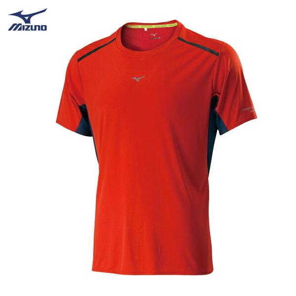 J2TA800161(橘紅)抗紫外線透氣涼感印花男路跑短袖T恤【美津濃MIZUNO】