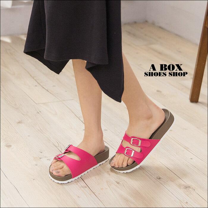 格子舖*【ADNW202】MIT台灣製 女款舒適時尚好看高質感皮革 金屬雙釦厚底拖鞋 涼鞋 3色 2