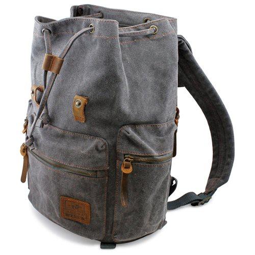 Men's Outdoor Sport Vintage Canvas Military BackBag Shoulder Travel Hiking Camping School Bag Backpack - Gray 2