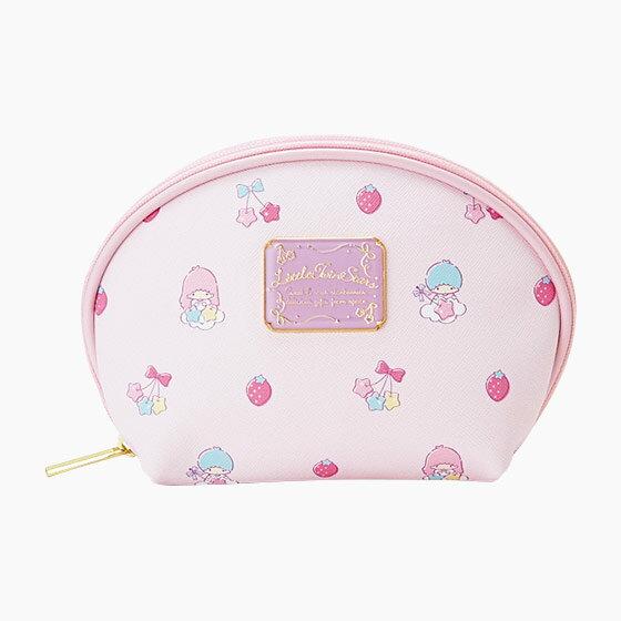 【真愛日本】16090100027  PU皮革寬口化妝包-TS草莓櫻桃星  三麗鷗家族 Kikilala 雙子星 化妝包 收納包