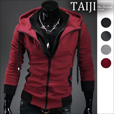 連帽外套‧雙拉鍊保暖刷毛棉質立領連帽外套‧四色‧加大尺碼【ATJBW14】-TAIJI-