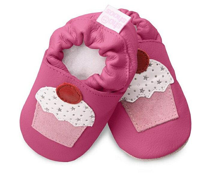 【HELLA 媽咪寶貝】英國 shooshoos 安全無毒真皮手工鞋/學步鞋/嬰兒鞋_桃紅杯子蛋糕(公司貨)