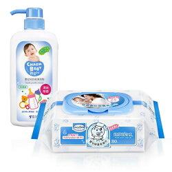 【奇買親子購物網】貝恩Baan NEW嬰兒保養柔濕巾80抽24入/箱+雪芙蘭親貝比 嬰幼兒奶瓶清潔劑700ml