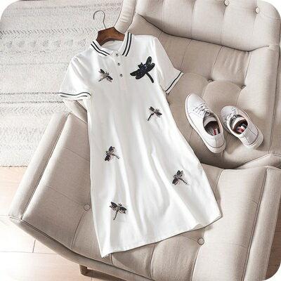 連身裙短袖連衣裙-釘珠蜻蜓時尚翻領女上衣3色73sz11【獨家進口】【米蘭精品】