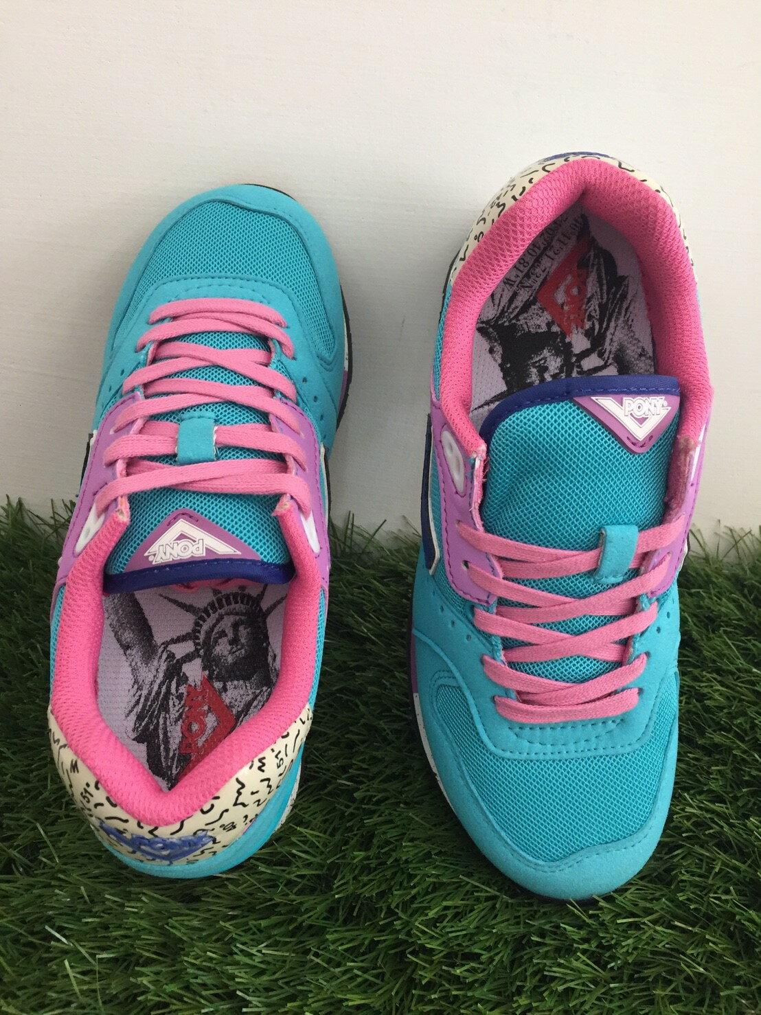 ★限時特價990元★ Shoestw【53W1MK65CB】PONY 復古慢跑鞋 內增高 水藍粉色 女生 1