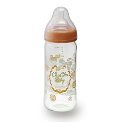 chuchubaby 蕾絲女孩寬口玻璃奶瓶-240ml