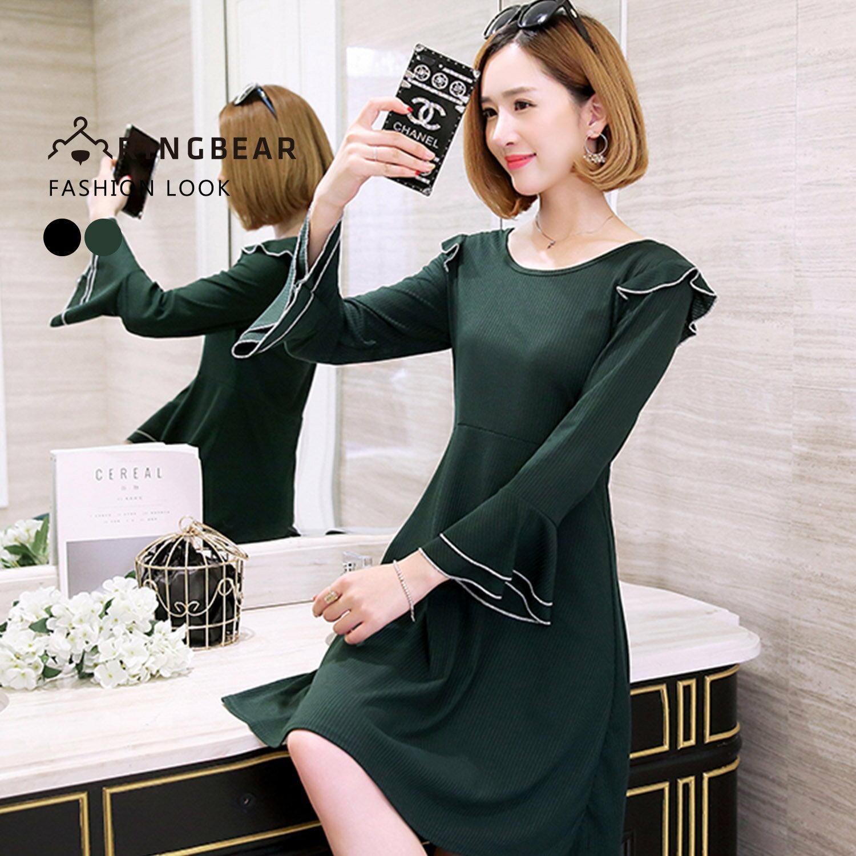 連身洋裝--誘人氣息緄邊U領古典袖飾優雅荷葉寬袖A字連身裙(黑.綠L-3L)-A314眼圈熊中大尺碼 1