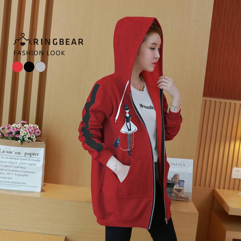 保暖外套--個性線條剪接袖優雅女孩印圖抽繩連帽外套(黑.灰.紅L-3L)-J321眼圈熊中大尺碼 2