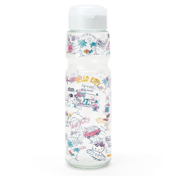 X射線【C088937】Hello Kitty 玻璃冷水壺1.1L-夏季,水瓶/水壺/水罐
