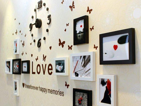 BO雜貨【YV2955】高品質實木相框創意照片牆 相框牆 相框組合11框 附時鐘 黑白