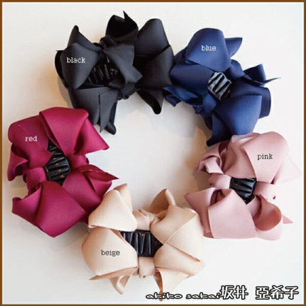 『坂井.亞希子』日系柔美緞面蝴蝶結造型抓夾