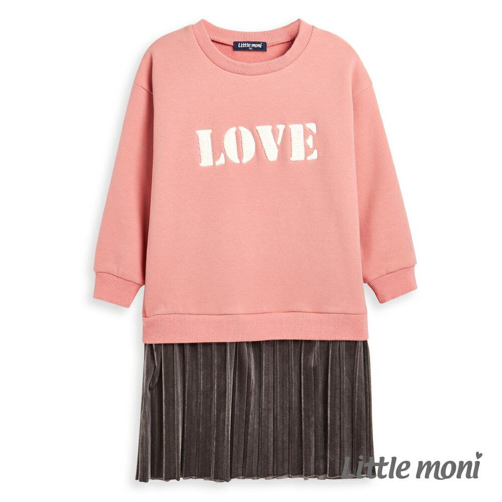 Little moni 刷毛假兩件百褶刺繡洋裝-粉紅(好窩生活節) 0