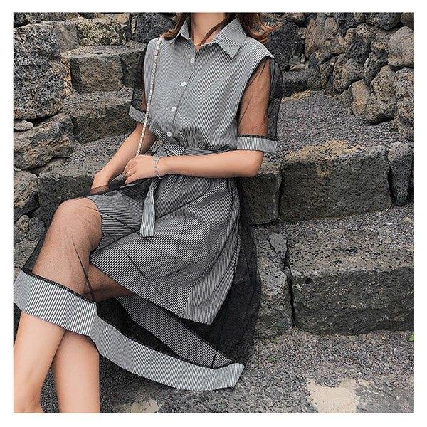 短袖洋裝條紋網紗拼接排釦短袖洋裝連身裙【NDF6607】BOBI0614