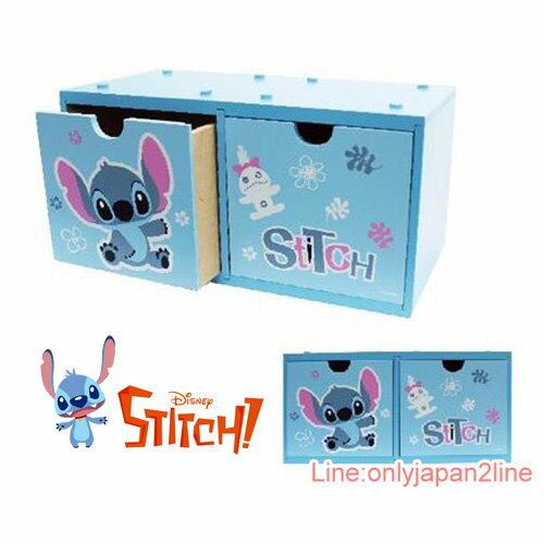 【真愛日本】17031500004 積木二抽收納盒-史迪奇 迪士尼 星際寶貝 史迪奇 收納櫃 收納盒