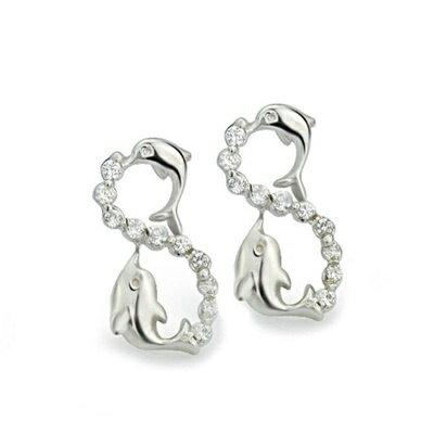 ~925純銀耳環鑲鑽耳飾~ 可愛海豚 母親節生日情人節 女飾品73dm130~ ~~米蘭
