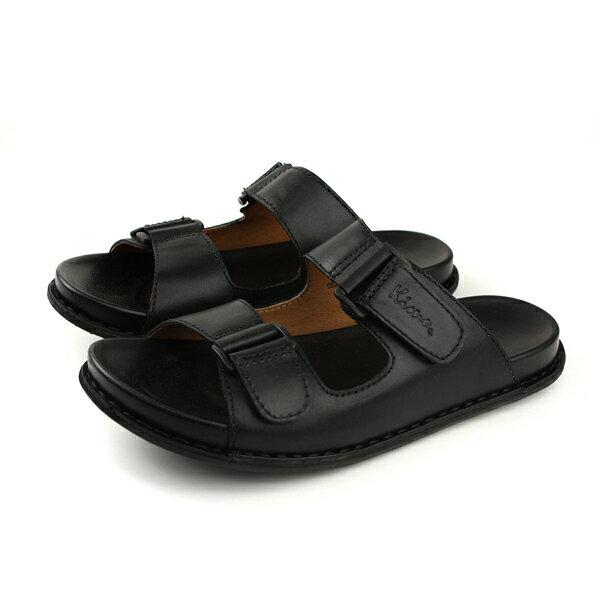 Kimo涼鞋拖鞋式皮質男鞋黑色D5318SM009013no741