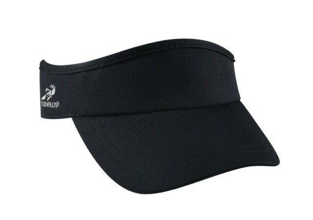 HEADSWEATS 全黑遮陽帽 帽圈CoolMax材質 重量輕 舒適 快乾 魔鬼氈調整頭圍大小