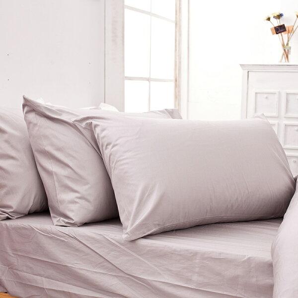 床包雙人加大-100%精梳棉【馬卡龍-岩石巧克力】含兩件枕套,經典素色,戀家小舖,台灣製