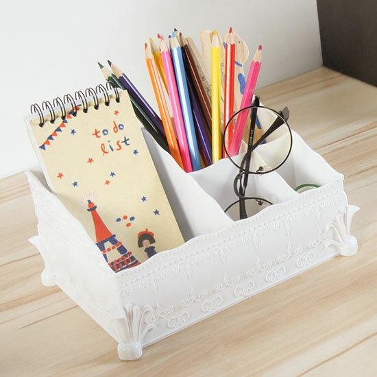 ●MYCOLOR●歐式創意桌面化妝收納盒塑料迷你整理盒家用簡約化妝盒雕花桌面首飾化妝盒好拿【B16-1】