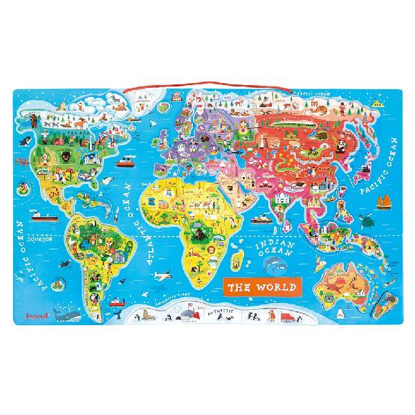 【法國 Janod】磁性木質拼圖-世界地圖