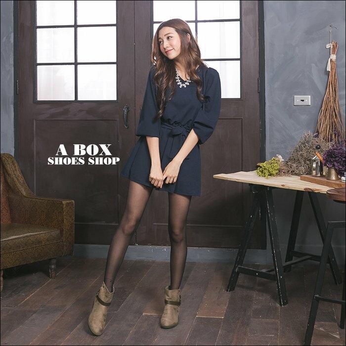 格子舖*【KBPL-8088】日系雜誌流行百搭絨布 拉鍊方便穿拖 3.2CM粗低跟 短靴 素面絨布靴 機車靴 2色 1