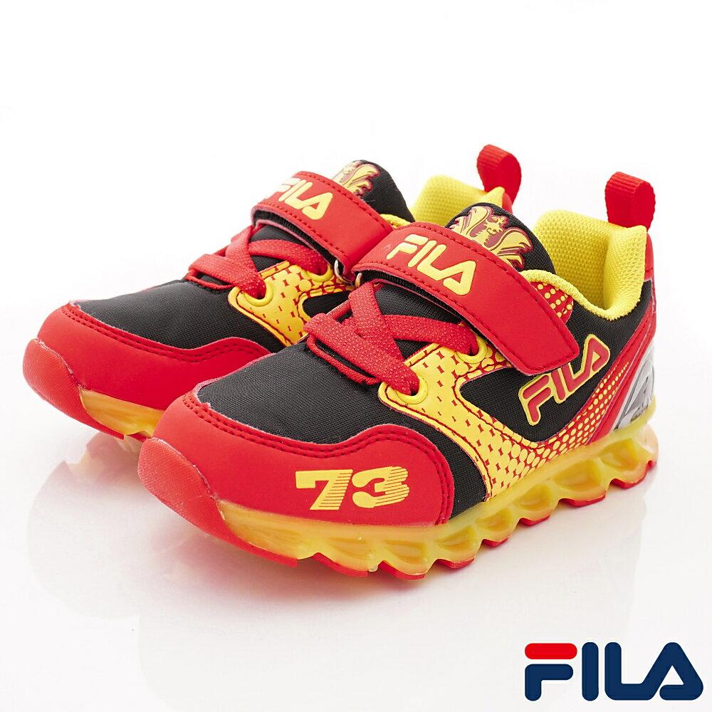 FILA電燈賽車鞋款 EI52S-209黑紅(中小童段)