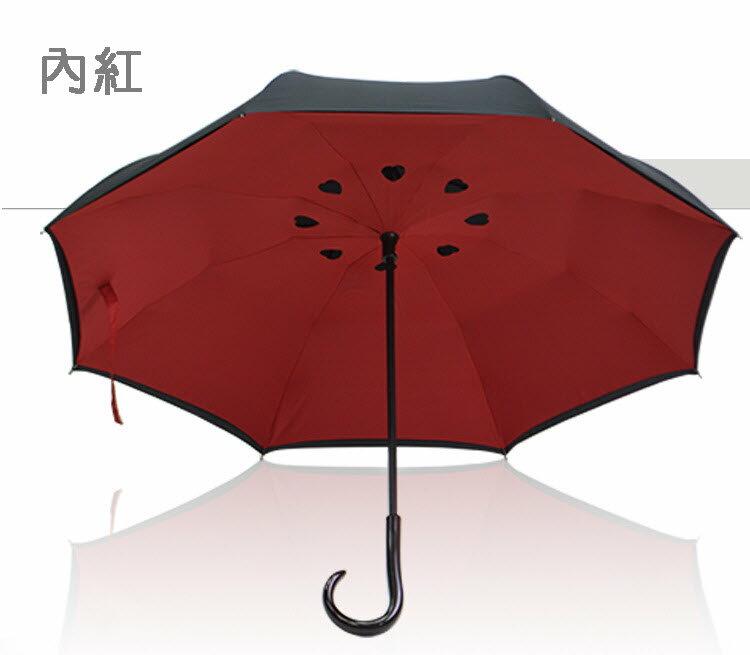 反向傘 4色可選-碳纖結構雙層布防雨防曬外收反轉傘/新型弧面 上收設計 反收傘 3