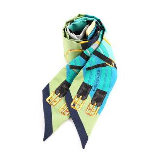 【HERMES】皮帶造型圖騰提把專用絲巾Twilly (一對) HE75000037