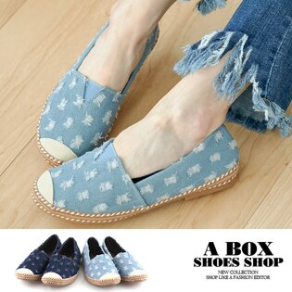 【AN1152】百搭休閒草編丹寧牛仔圓頭包鞋懶人鞋刷破設計2色