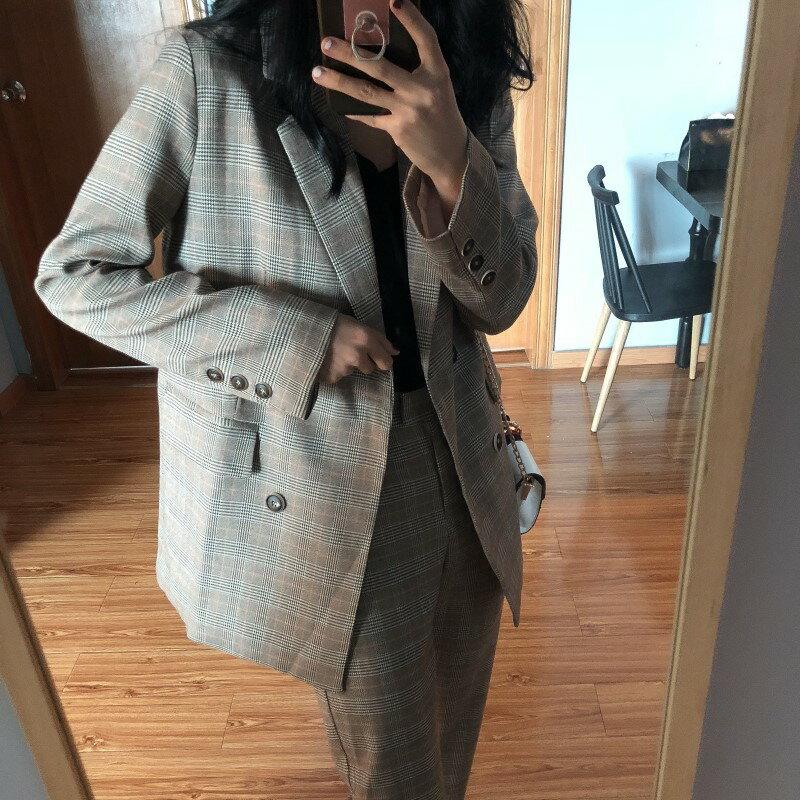 西裝外套休閒西服-格子翻領復古寬鬆女外套73xj16【獨家進口】【米蘭精品】