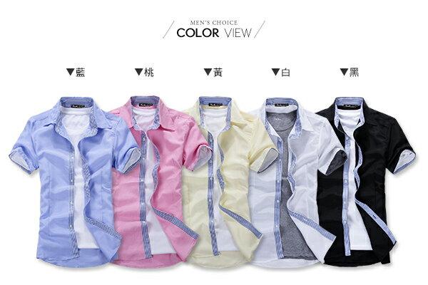 ☆BOY-2☆【PPK83009】短袖襯衫韓版休閒素色白釦線條內裡牛津襯衫 2