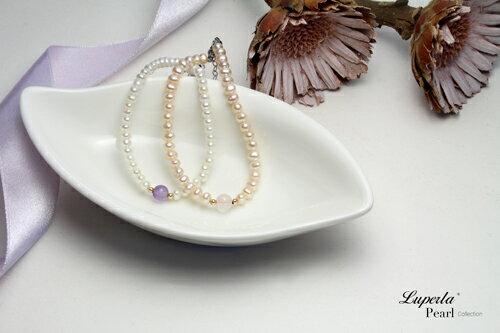 大東山珠寶 氣質婉約 紫水晶珍珠14K手鍊 氣質白 4