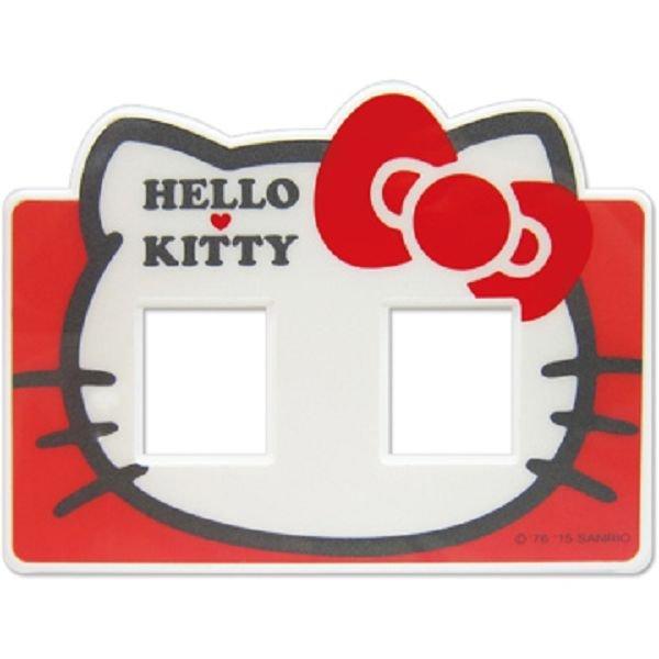 【真愛日本】15040300012 開關蓋板-雙孔頭型紅 三麗鷗 Hello Kitty 凱蒂貓 居家 家飾 正品 限量