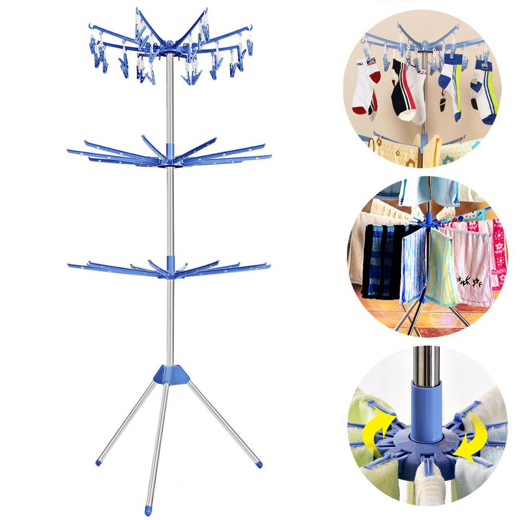 Stand Portable Folding Three Tiers Drying Rack Towel Laundry Hanger Dryer 5