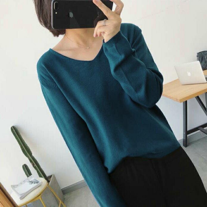 親膚柔軟.純色V領長袖針織上衣- shiny藍格子【V2994】 7