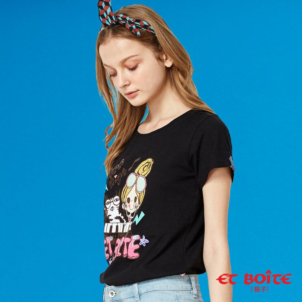 【夏日音樂派對】Et Amour電音Keyboard喵娃短袖T恤(黑) - BLUE WAY  ET BOiTE 箱子 1