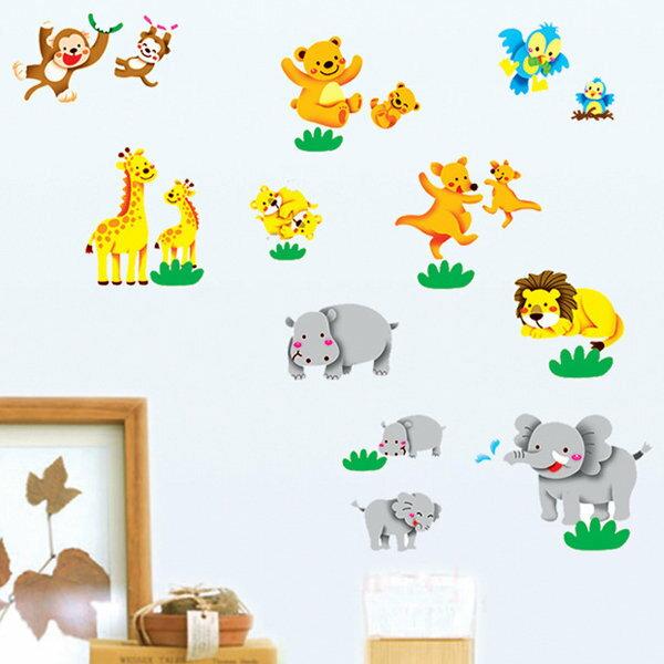 BO雜貨【YV0661】DIY時尚裝飾組合可移動壁貼 牆貼 壁貼 創意壁貼 歡樂動物DM570145