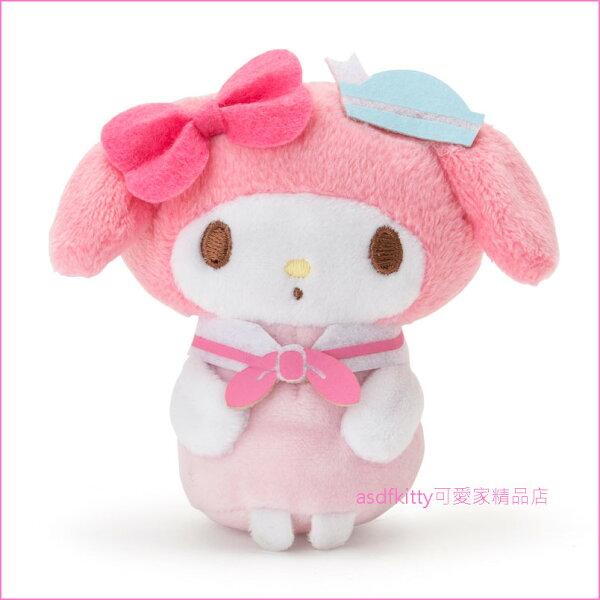asdfkitty可愛家☆美樂蒂海軍風可站立小娃娃短絨毛玩偶-陪您上班上網-紓壓療癒-日本正版商品