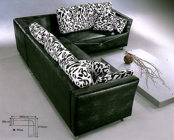 【尚品家具】684-06 普西米亞仿鱷魚皮雙L海灣型沙發~另有多款尺寸可選