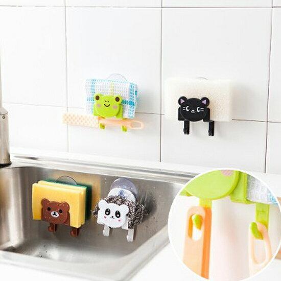 ♚MYCOLOR♚卡通掛鉤收納支架海綿懸掛瀝乾吸盤吸附衛生清潔水槽洗漱牙刷架【L160】