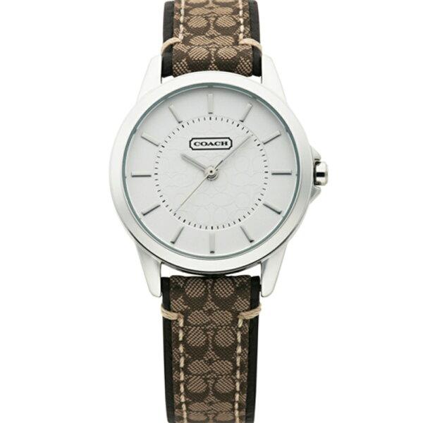 COACH優雅簡約經典LOGO皮帶腕錶-咖啡31mm